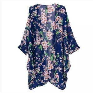 Kimono blue floral cover up cardigan